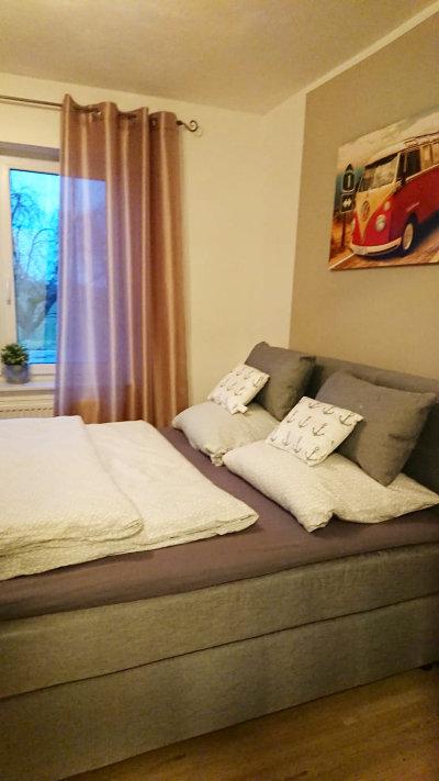 Ferienhaus Delbrück Boke zweites Schlafzimmer mit Boxspringbetten