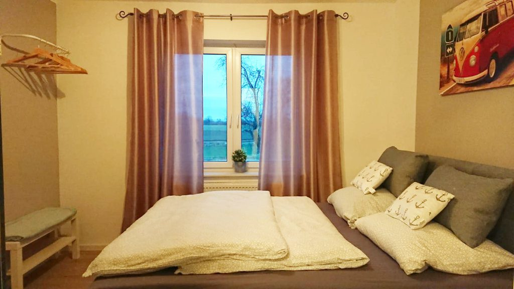 Second bedroom holiday home Delbrück with box spring bed