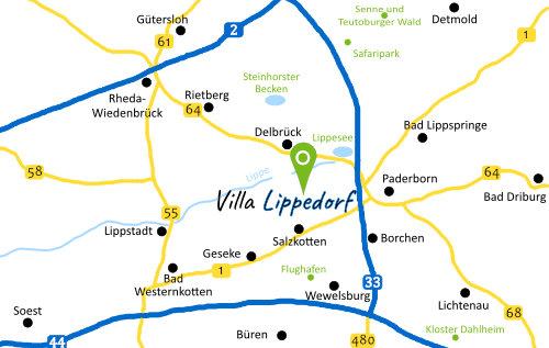 Adresse Villa Lippedorf in Delbrück-Boke nahe Salzkotten, Lippstadt und Paderborn